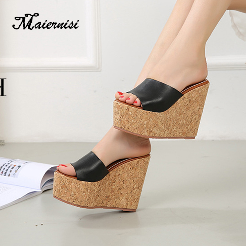 MAIERNISI Platform slippers women open toe wedges sandals ladies summer high heels casual shoes home outdoor