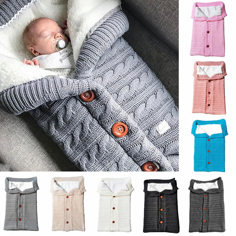 Newborn Baby Winter Warm Sleeping Bags Infant Button Knit Swaddle Wrap Swaddling Stroller Wrap Toddler Blanket Sleeping Bags 79