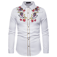 PUIMENTIUA 2019 Mens Fashion Western Cowboy Skull and Rose Embroidery Shirt Slim Fit Casual Long Sleeve Button Down Dress Shirts