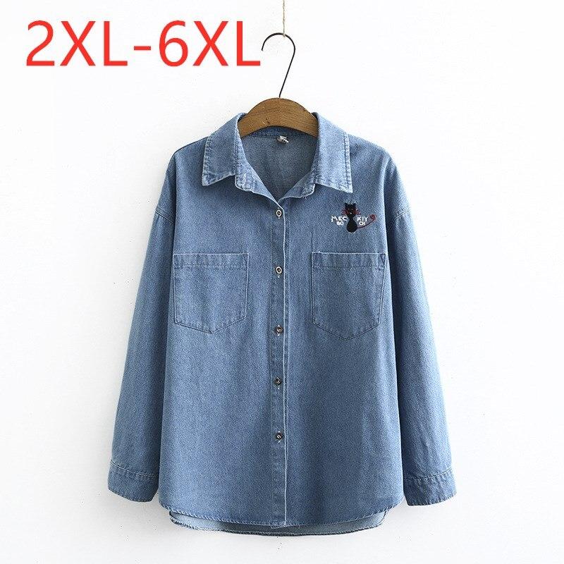 New ladies autumn winter plus size tops for women large blouse long sleeve loose cotton blue pocket denim shirt 3XL 4XL 5XL 6XL