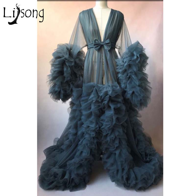 Chic Illusion Ruffles Tulle Long Prom Dresses Lush Puff Full Sleeves Kimono Pregnant  Party Dress Prom Gowns