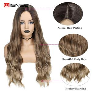 Image 2 - Wignee Ombre Brown Synthetic Wigs for Women Middle Part Long Wave Natural Hair For American Fiber Daily/Party/Cosplay Hair Wigs