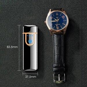 Image 2 - USB Elctronic טעינת מצית מגע Windproof סמוק סיגריות קלאסי Encendedor חריטת אותיות & דיגיטלי להתאמה אישית
