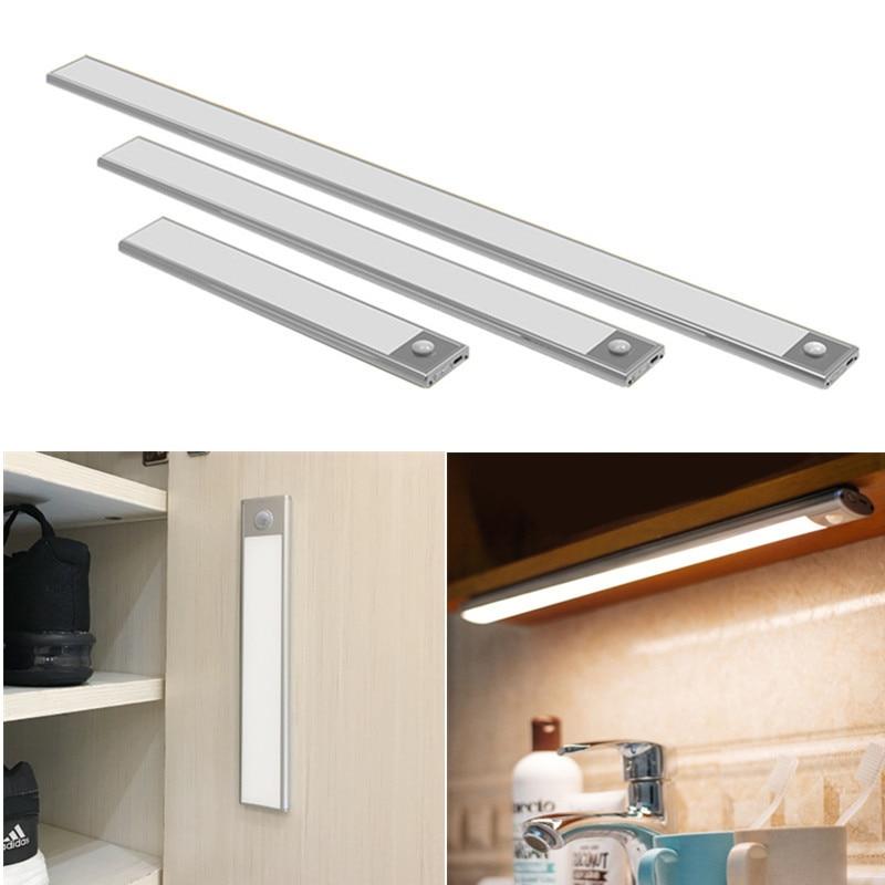 USB recargable 23/40cm PIR Sensor de movimiento luz led para debajo de gabinete armario ropero luz nocturna para lámparas de pared de cocina Luz LED de noche con Sensor de movimiento PIR, lámpara LED de noche, iluminación de techo, lámparas de techo para sala de estar