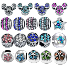 Wholesale 50 Pieces/Lot Crystal Heart Minnie Mickey Mouse Bead Fit Pandora Beads Charm Bracelet For Women Jewelry Making SPB165