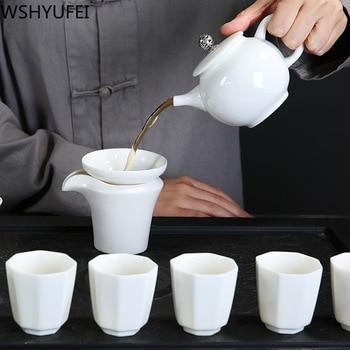 New style Sheep fat jade porcelain teapot set Anti-scalding heat Tea set tea set teapot Household drinking utensils WSHYUFEI