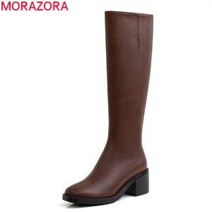 Женские сапоги до колена MORAZORA, коричневые сапоги из натуральной кожи на толстом высоком каблуке, с квадратным носком, зима 2020