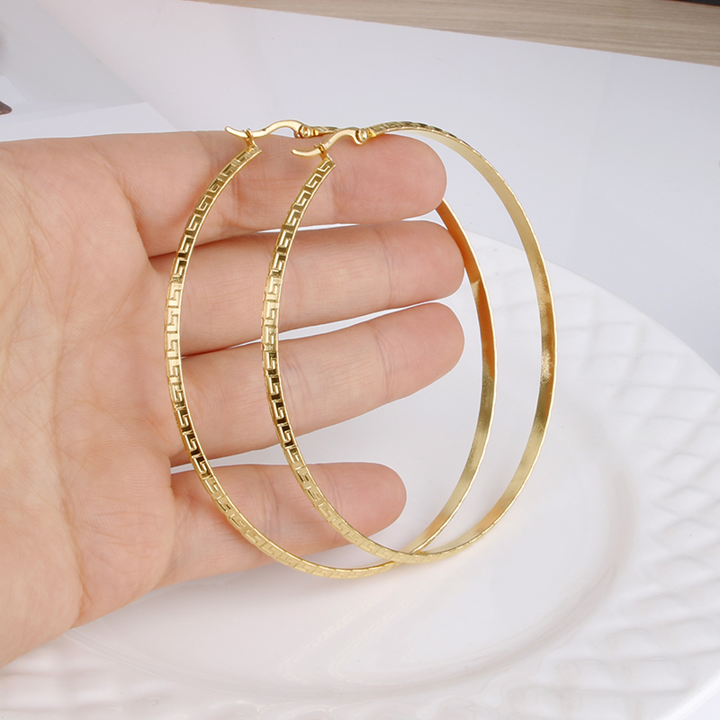 Gold Color Stainless Steel Big Hoop Earring for Women Large Hoops  Chinese Design Ladies Ear  Fashion  Jewelry Party E0154