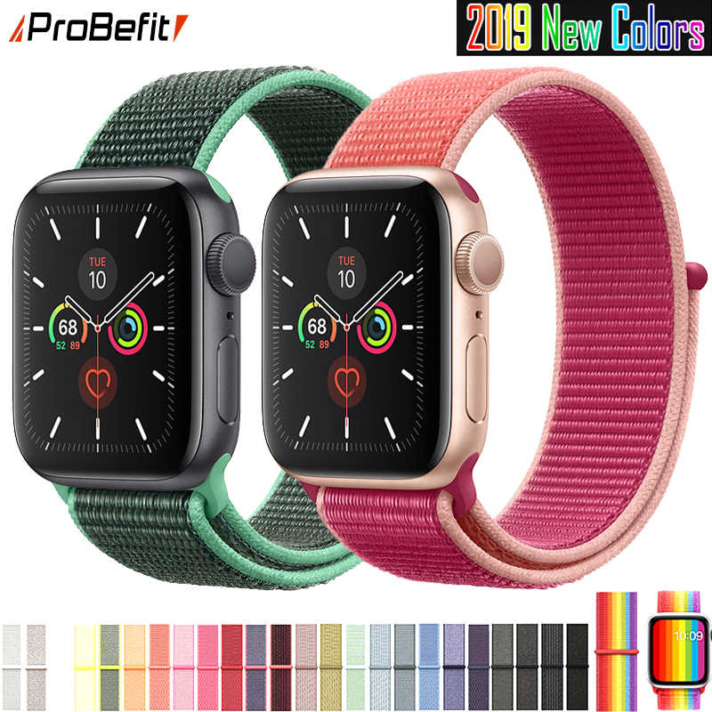 Banda de Apple Watch Serie 3/2/1 38MM 42MM Nylon transpirable suave Correa deporte bucle para iwatch serie 4 5 40MM 44MM