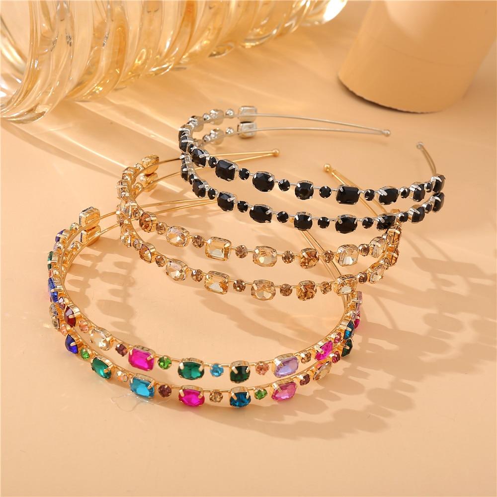 Fashion Girls Shiny Luxury Rhinestone Hair Band Diamond Double layer Hair Hoop Hair Accessories for Women Crystal Headbands