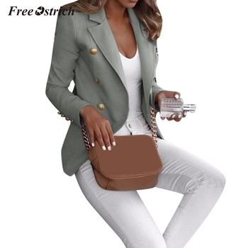 Free Ostrich Spring Autumn Slim Women Formal Jackets Office Work Suits turn-down Collar Button Coats Solid Ladies Coat N30