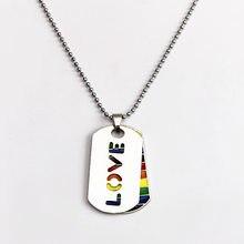Collier en arc-en-ciel pour hommes et femmes, pendentif à lame, étiquette de chien, amour, bijoux d'anniversaire