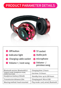 Image 5 - LED Light Wireless Bluetooth V5.0 Headphones Over Ear Wireless Earphone 3D Stereo Headset Support TF Card FM 3.5mm AUX Audio