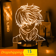 Anime meu herói academia shoto todoroki rosto design led night light lâmpada para crianças criança meninos quarto decoração lâmpada de mesa acrílico presente