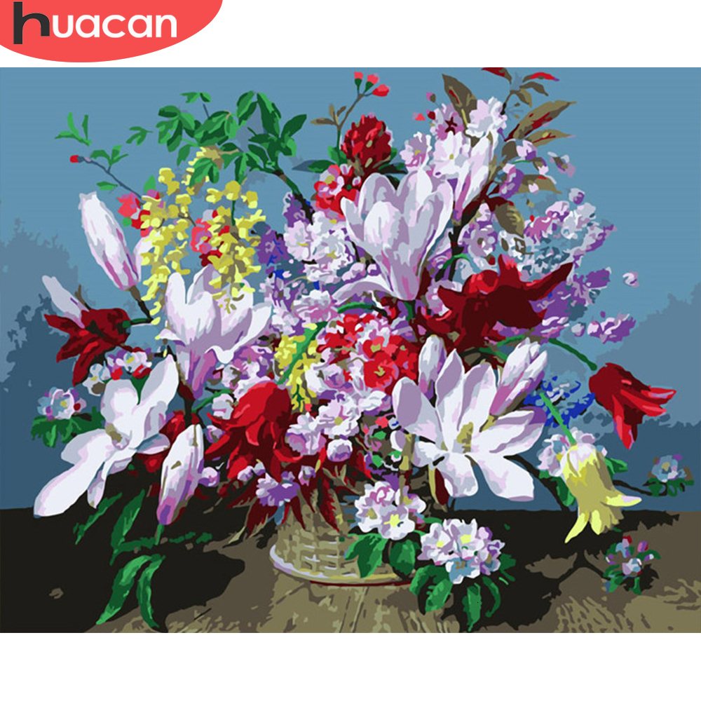 HUACAN Painting By Numbers Flowers HandPainted Kits Art Dawing On Canvas DIY Home Decoration Gift