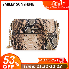 Stone Pattern Small Crossbody Bag For Women Snake Print PU Leather Shoulder Bag Female Chain Messenger Bag Ladies Hand Bags 2020