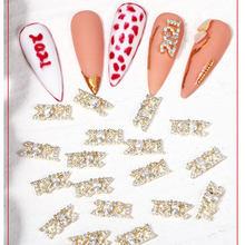 2 pièces/2021 motif zircon ongles bijoux réel plaqué or couleur préservation nail art luxe alliage ornements bricolage accessoires outils