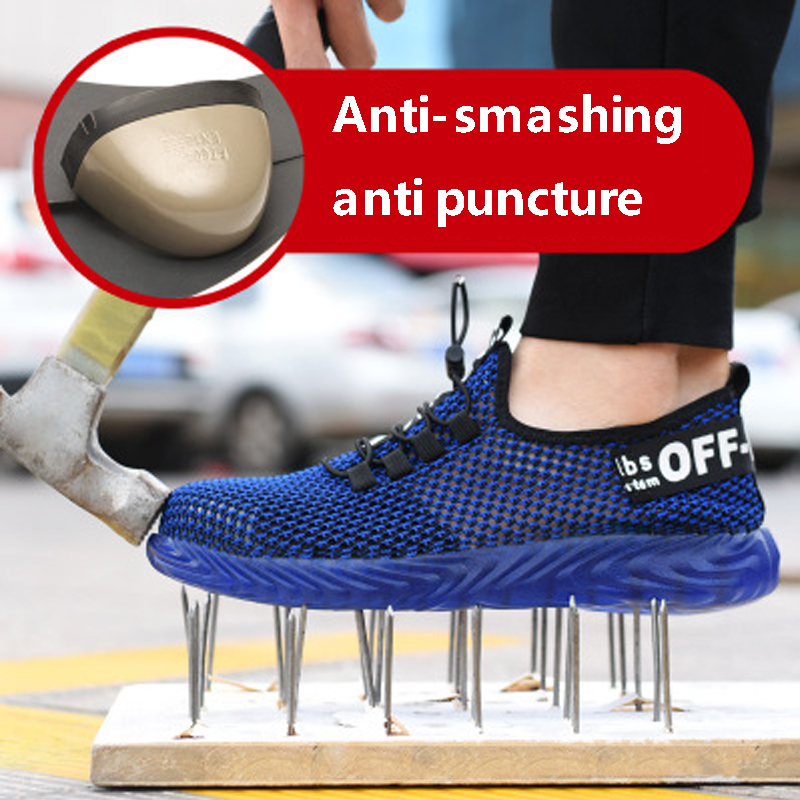 Summer Breathable Steel Toe Caps Anti-smashing Puncture Men's Work Boots Wear-resistant Anti-skid Kevlar Midsole Safety Shoes