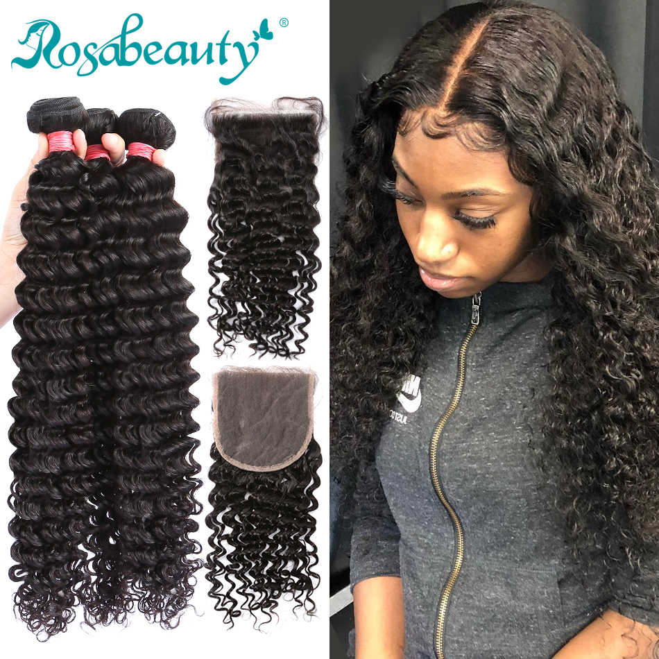 Rosa beauty 8-28 Inch Natural Color Peruvian Virgin Curly Hair Weaves 3 4 Bundles with Closure 100% Unprocessed Human Hair Weft