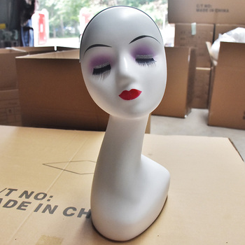 Mannequin Head Women Female ABS Mannequin Manikin Head Model White Wig Hair Glasses Display Stand Manikin Head Model