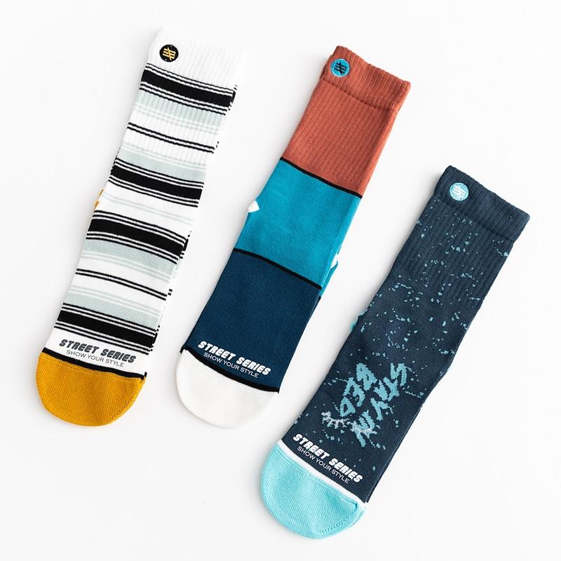 Unisex Street Fashion Happy Men Socks 100 Cotton Harajuku Colorful Kawaii Full Socks Men 1 Pair Size 35-43