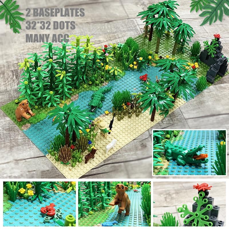 2020 Rain Forest Building Blocks Juguetes Animals Trees Grassland Baseplates Mini Bricks Toys For Children DIY Eduation Game