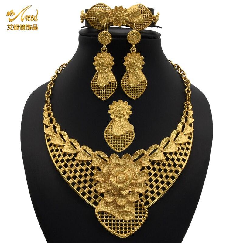 פרח שרשרת סטים לנשים דובאי תכשיטי סט הכלה עגילי טבעות זהב אפריקאי תכשיטים הודי חתונה אביזרי מתנה