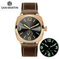 Часы San Martin  бронзовые  деловые  повседневные  простые  мужские  кварцевые  Holvin  кожаный ремешок  Relojes  светящиеся  200 м  водонепроницаемые