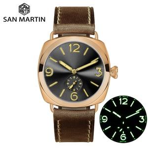 Image 1 - Часы San Martin из бронзы, деловые повседневные Простые мужские кварцевые часы с кожаным ремешком, светящиеся водонепроницаемые до 200 м