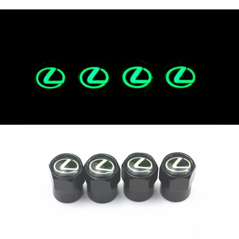 Luminous Car-Styling New Car Valve Caps Emblems Case For Lexus RX300 RX450 IS200 IS250 IS300 GS300 Auto Wheel Tire Valve Cover