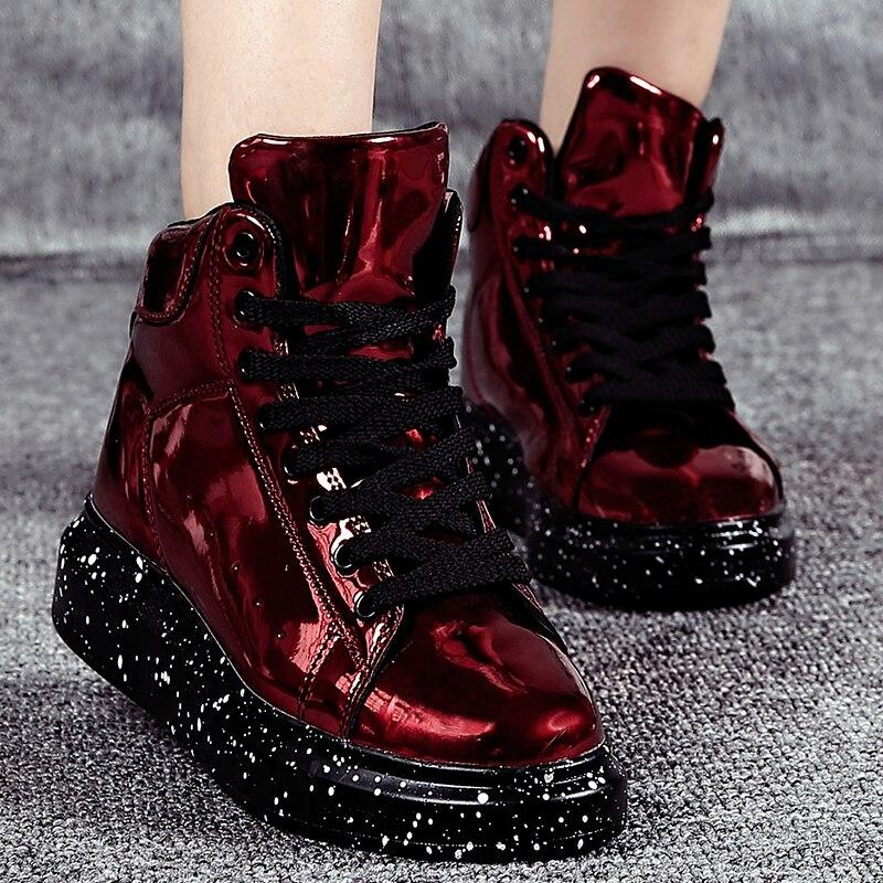 Livraison directe bottes de neige femmes 2019 hiver nouveau cuir peint fond épais haut conseil supérieur chaussures mode miroir chaussures amoureux