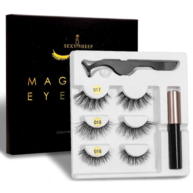 Magnetic Eyelashes 3 pairs Eyeliner Eyelash Curler Set5 Magnet Natural Long Magnetic False Eyelashes With Magnetic Eyeliner 2