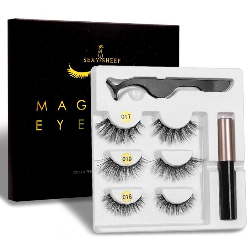 SEXYSHEEP Magnetic Eyelashes Eyeliner Eyelash Curler Set5 Magnet Natural Long Magnetic False Eyelashes With Magnetic Eyeliner-in Eyelashes Set from Beauty & Health
