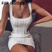 For Insider Auutmn winter twist white knitted sweater dress Women solid sleeveless bodycon Elegant party sexy short