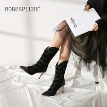 ROBESPIERE Pointed Toe Mid-Calf Women Boots Sexy Thin High Heels Genuine Leather Shoes Fashion Zipper Large Size Lady B83