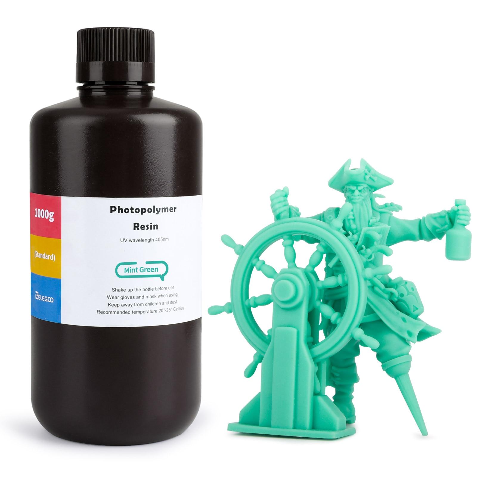 ELEGOO АБС похожее на смолы 3D-принтеры смолы 405nm УФ Смола Стандартный фотополимерные смолы для ЖК-дисплей 3D-принтеры мятно-зеленого цвета, 1000 мл