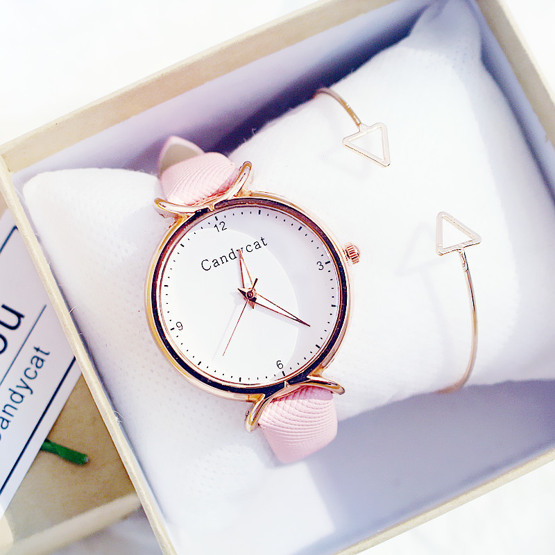 Girls Watch Korean Student Fashion Girl Simple And Easy Lovely Junior High School Candycat Versatile Small Fresh Quartz Watch
