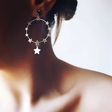 Vintage Hyperbolic Big Star Round Circle Dangle Drop Womens Earrings 2019 серьги Fashion Jewelry Bohemia-YSF