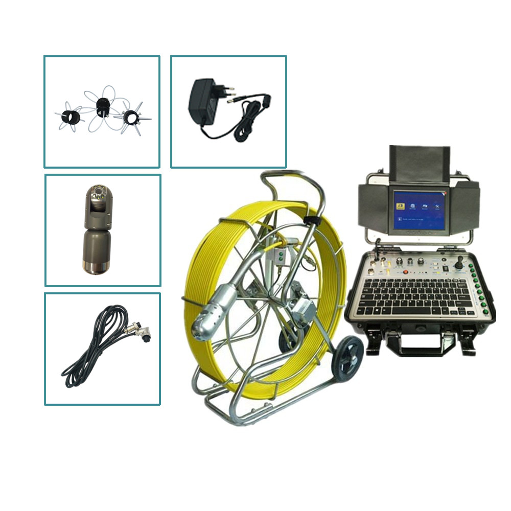 60m/80m/100m/120m 9mm cable cctv vent duct pipe inspection camera 360 rotating pan tilt sewer drain pipe detection video camera image