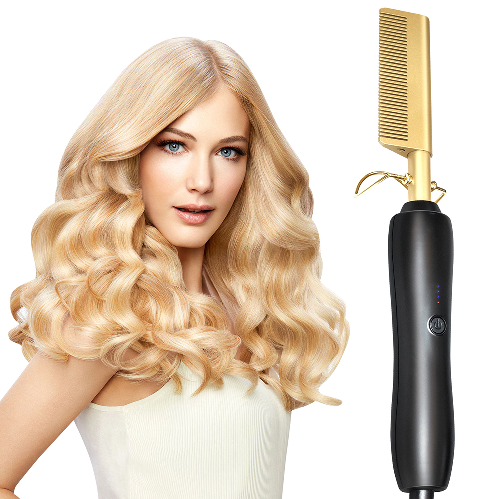 Hair Curler Comb Curling Iron Professional Hair Straightener Electric Hot Comb Environmentally Friendly Titanium Alloy Hot Comb