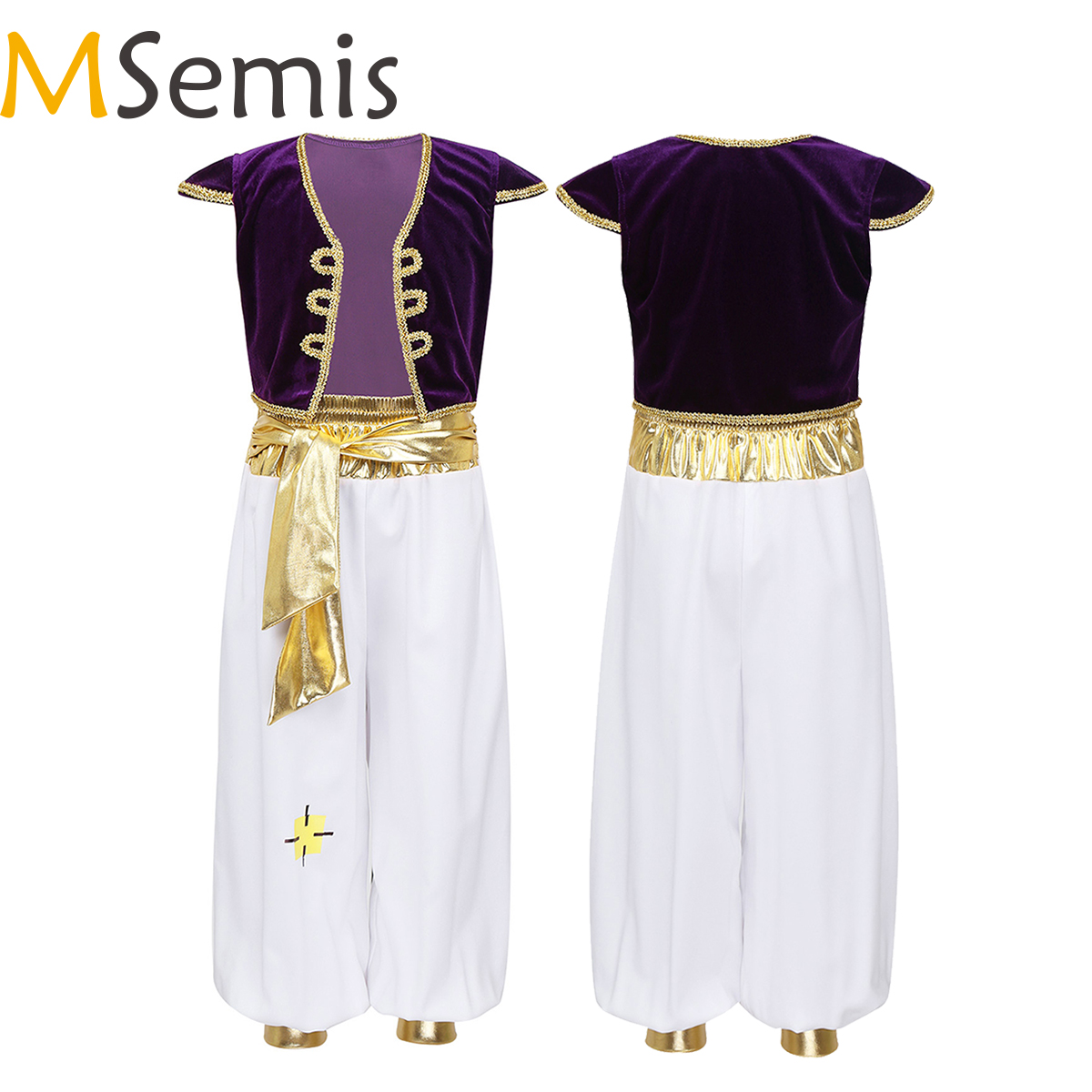 MSemis Kids Boys Fancy Arabian Prince Costumes Cap Sleeves Waistcoat With Pants For Halloween Cosplay Fairy Parties Dress Up