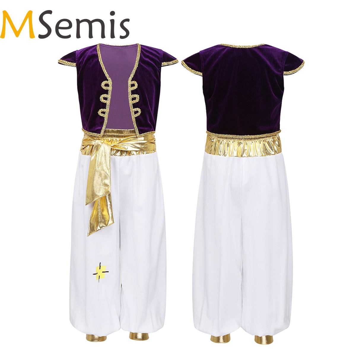 MSemis çocuk Boys fantezi arap prens kostümleri Cap kollu yelek pantolon cadılar bayramı Cosplay peri partileri elbise