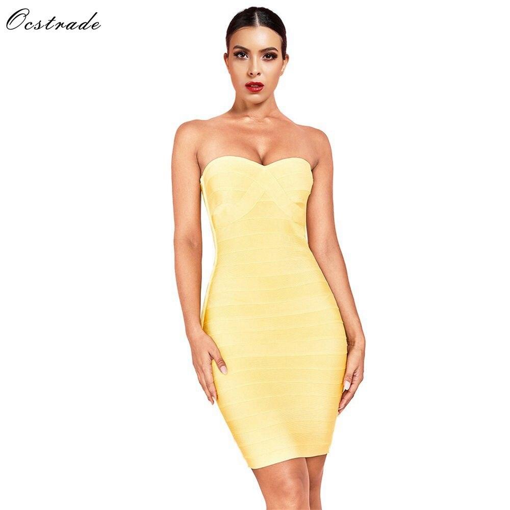 Ocstrade Strapless Women Yellow Bandage