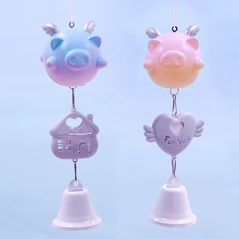 Cartoon Pigs Wind Chimes Aromatherapy Wall Hanging Decoration Bedroom Pendant Ornament Living Room Crafts Gift Home Decor in Wind Chimes Hanging Decorations from Home Garden