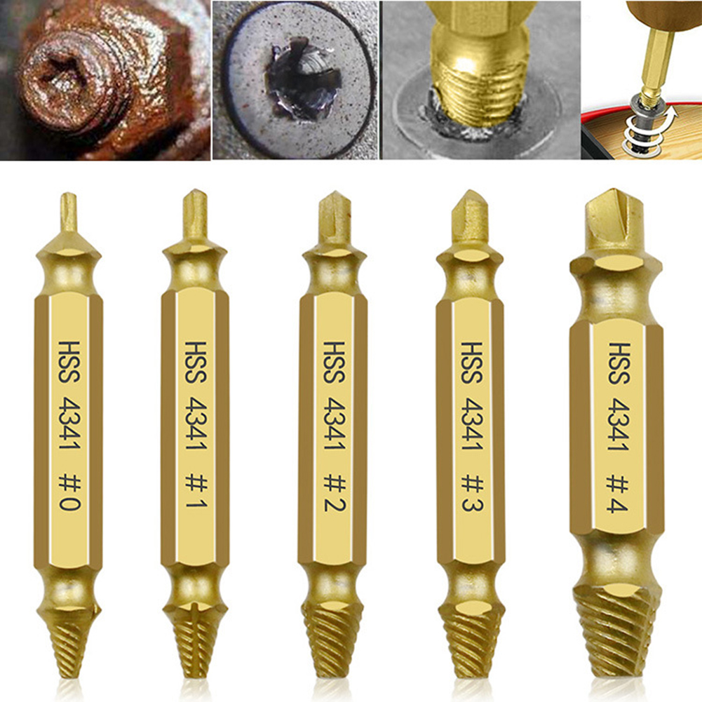 4/5/6 Pcs Drill Bit Set Broken Head Screw Removal Tool Bolt Screw Extractor Breaker Double Side Screw Remover Stripping Tool