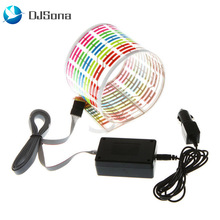 цены на DJsona Car RGB LED Music Rhythm Flash Light Sound Activated Sensor Equalizer Rear Windshield Sticker Styling Neon Lamp Hot Sale  в интернет-магазинах