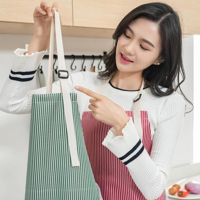 Apron For Women Waterproof Apron Cotton Linen Wasy To Clean Home Tools Kitchen Baking Accessories Cooking Delantal Cocina Home 2