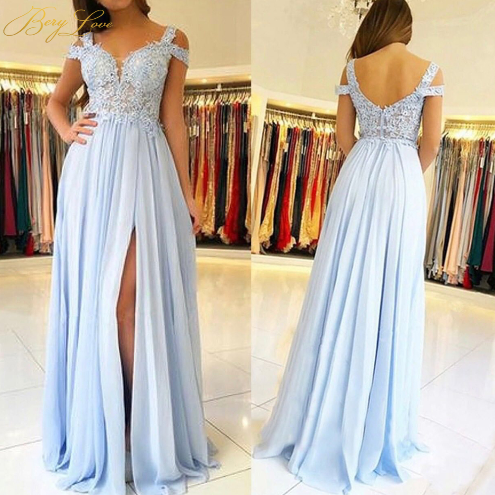 BeryLove Light Blue Lace   Bridesmaid     Dresses   2019 Chiffon High Slit Side Sleeves Appliques Long Party Guest Wedding Party Gown
