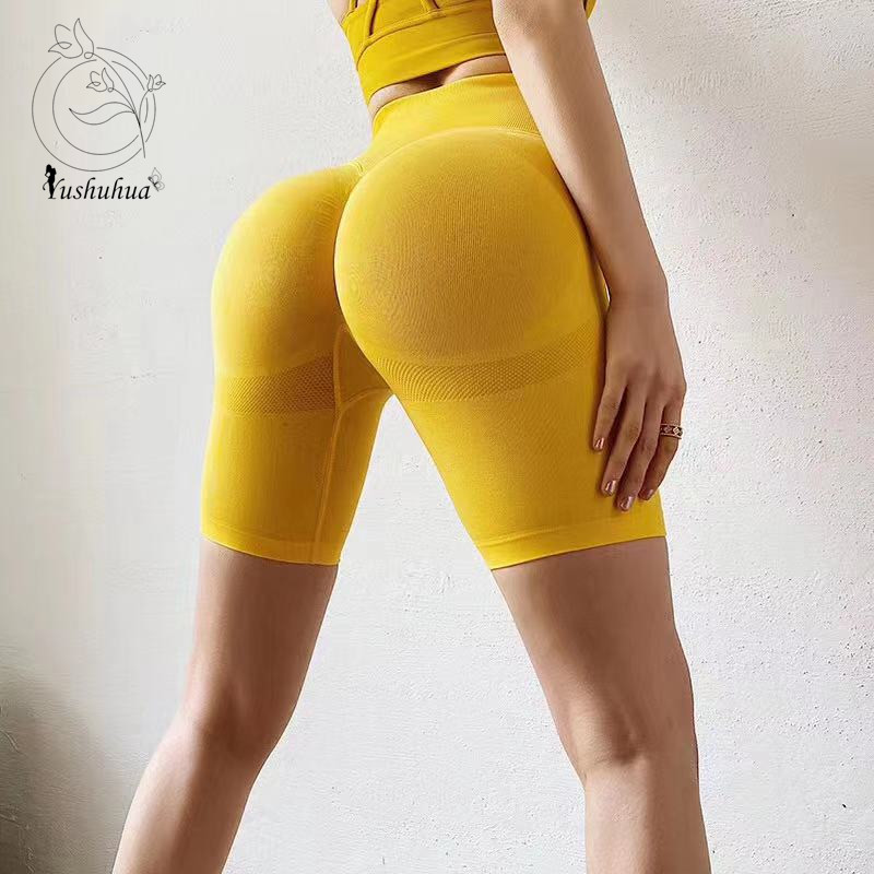Yushuhua Women's Tight Hip Lift Yoga Shorts Quick-drying Training Running Fitness Compression Shorts Gym Sport Seamless Shorts
