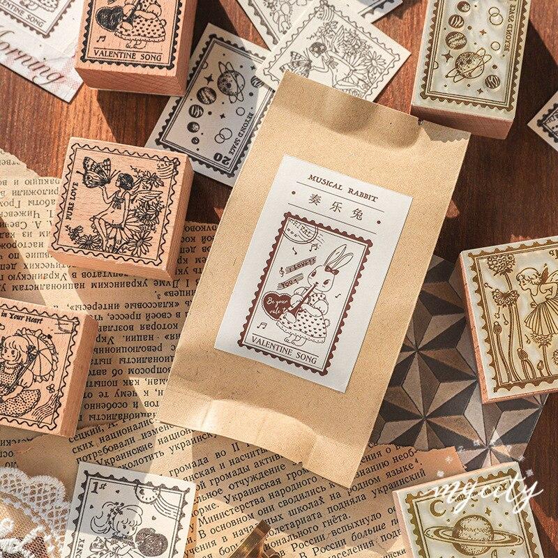 Vintage Forest Rabbit Planet Angel Decoration Stamp Wooden Rubber Stamps For Scrapbooking Stationery DIY Craft Standard Stamp